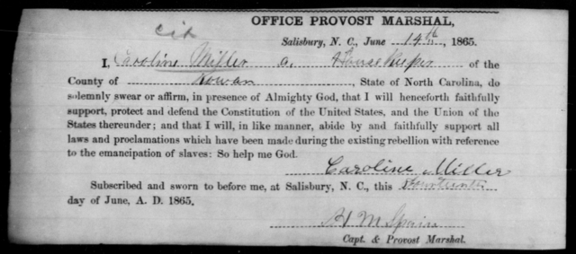 Miller, Caroline - State: North Carolina - Year: 1865