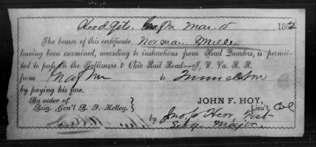 Miller, Norman - State: [Blank] - Year: 1862