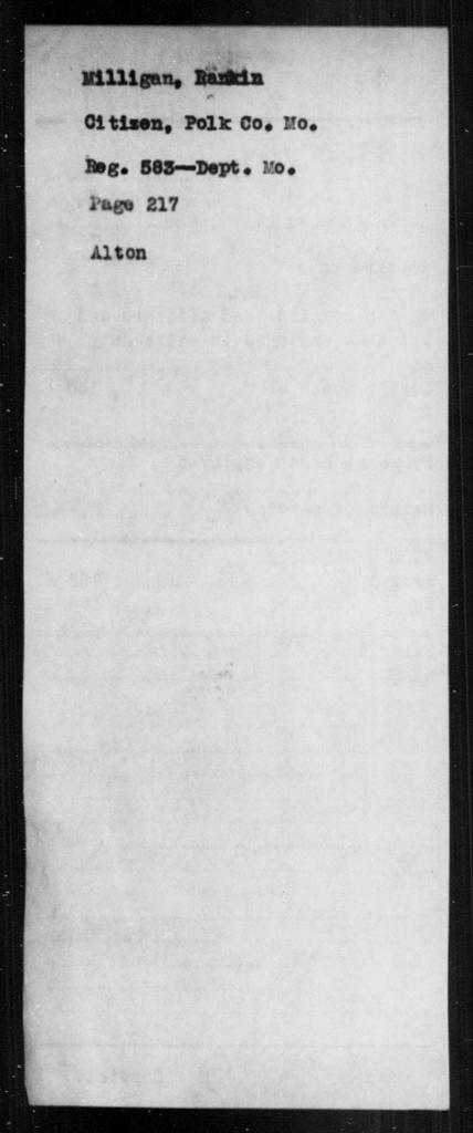 Milligan, Ranklin - State: Missouri - Year: [Blank]