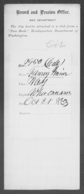 Minor, Fanny - State: Washington - Year: 1863