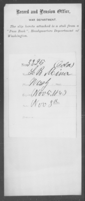 Minor, L B - State: Washington - Year: 1863