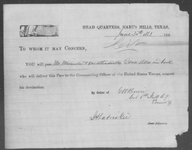 Miranda, [Blank] - State: Texas - Year: 1863