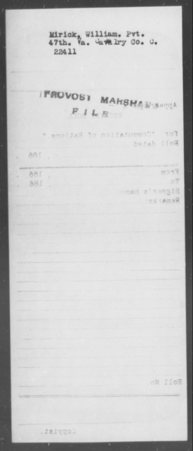Mirick, William - State: Virginia - Year: [Blank]