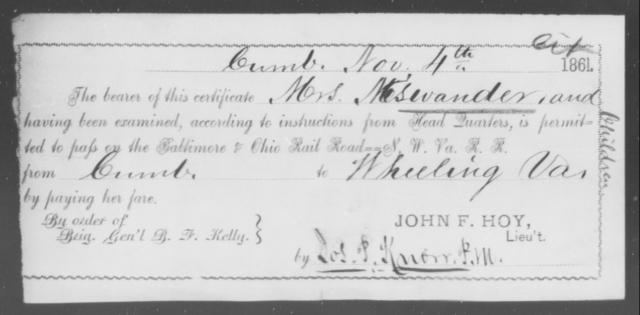 Miswander, [Blank] - State: [Blank] - Year: 1861