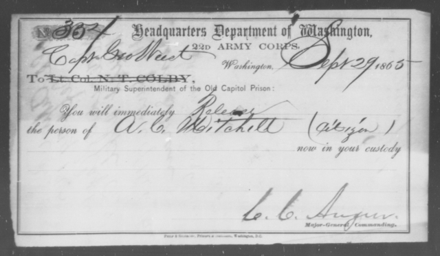 Mitchell, A C - State: Washington - Year: 1865