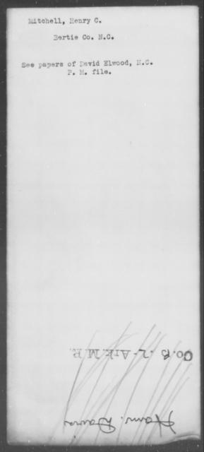 Mitchell, Henry C - State: North Carolina - Year: [Blank]