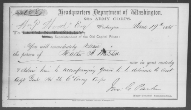 Mitchell, Mathew A - State: District of Columbia - Year: 1865