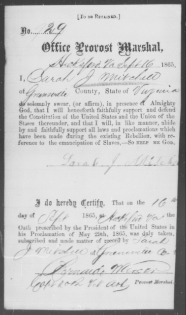 Mitchell, Sarah J - State: Virginia - Year: 1863