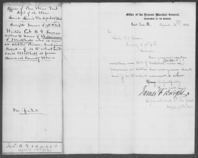 Mitchell, William F - State: Missouri - Year: 1863