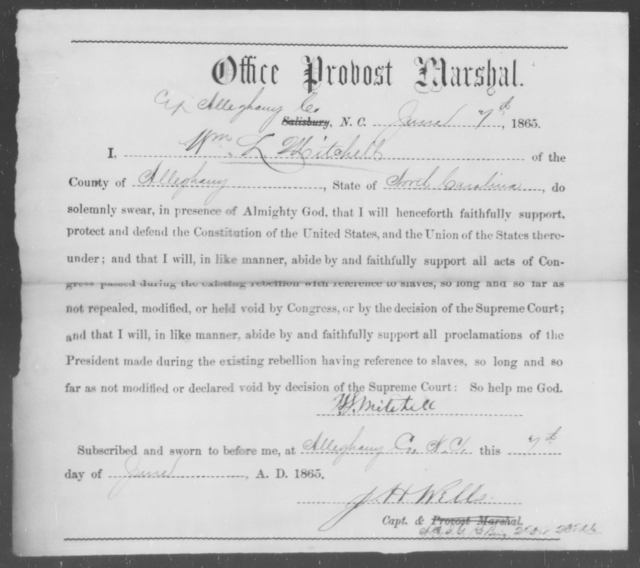 Mitchell, Wm L - State: North Carolina - Year: 1865