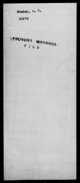 Monday, W T - State: Missouri - Year: 1862