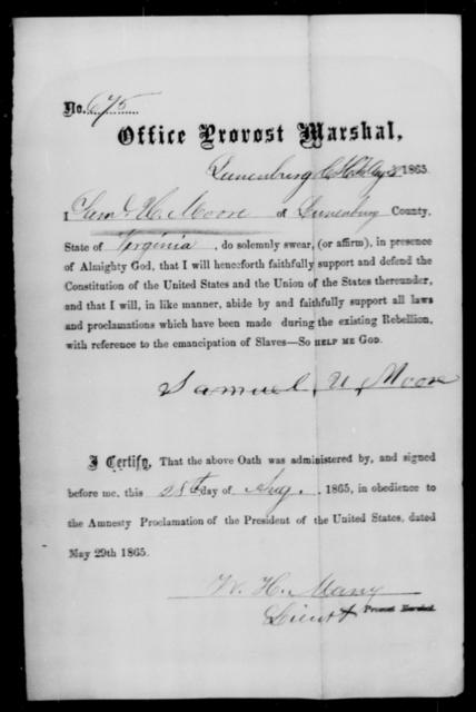 Moore, Saml H - State: Virginia - Year: 1865