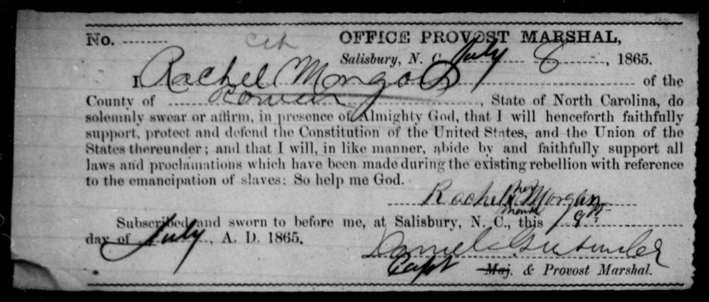 Morgan, Rachel - State: North Carolina - Year: 1865