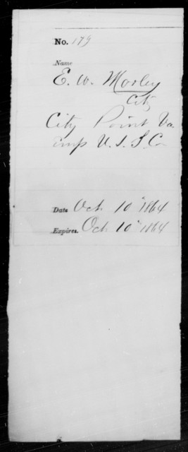 Morley, E W - State: Virginia - Year: 1864