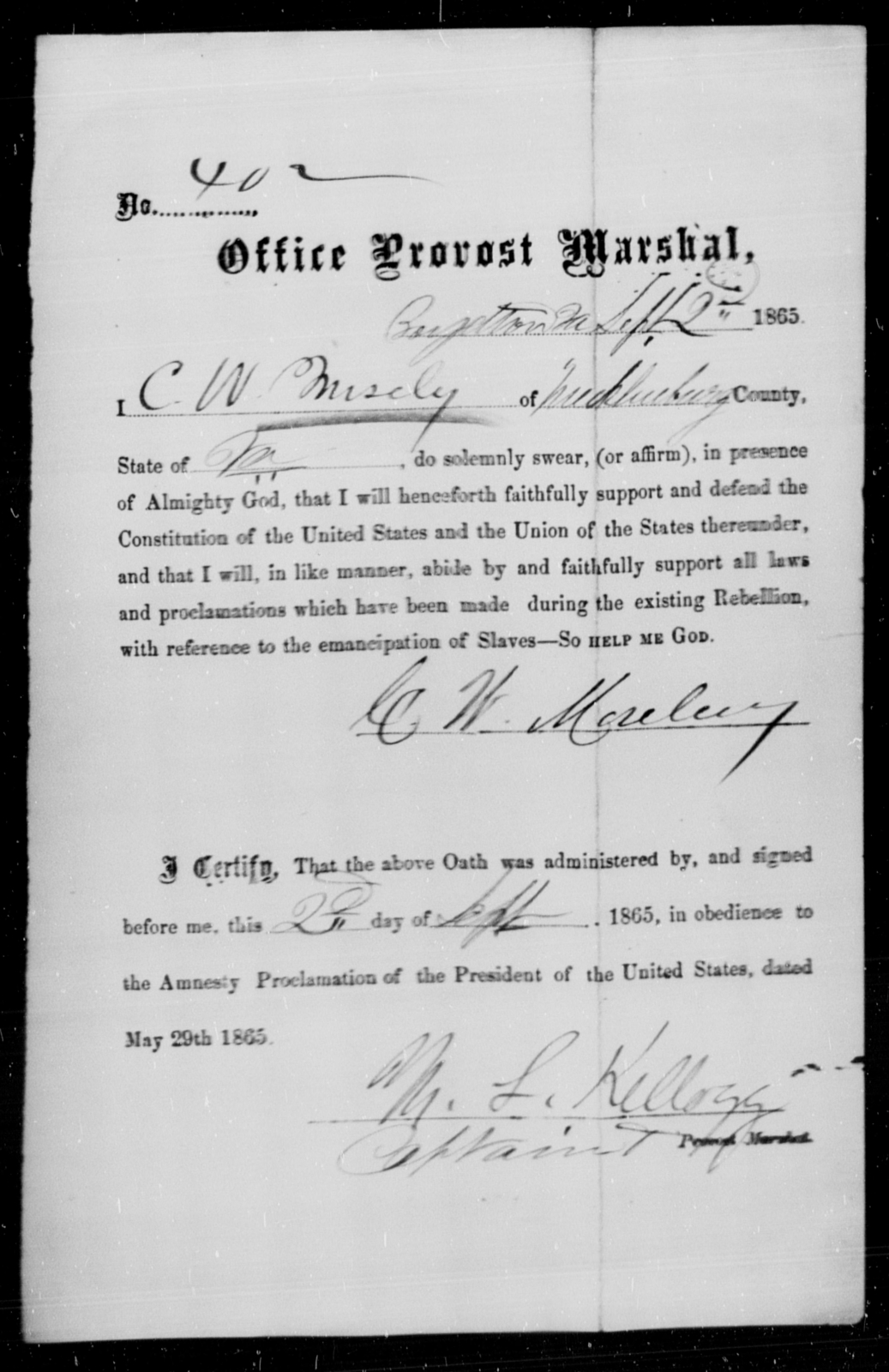 Mosely, C W - State: Virginia - Year: 1865