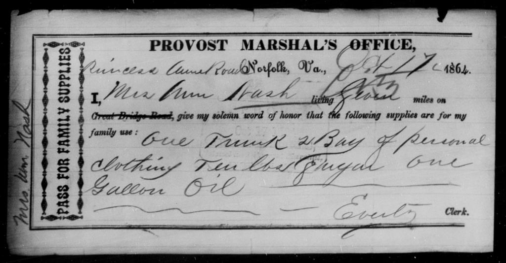 Nash, Ann - State: Virginia - Year: 1864