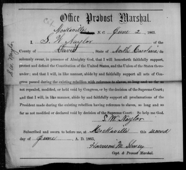 Naylor, S W - State: North Carolina - Year: 1865