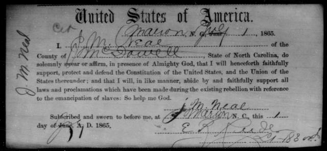 Neal, J M - State: North Carolina - Year: 1865