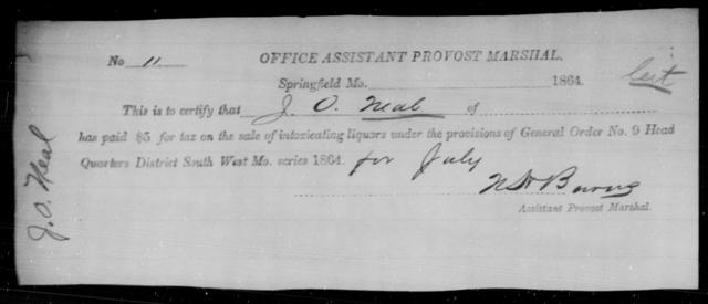 Neal, J O - State: Missouri - Year: 1864