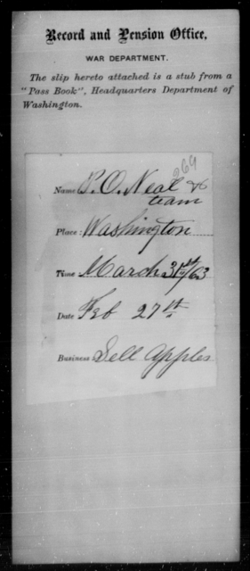 Neal, P O - State: District of Columbia - Year: 1863