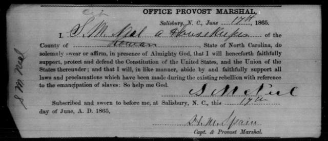 Neel, S M - State: North Carolina - Year: 1865