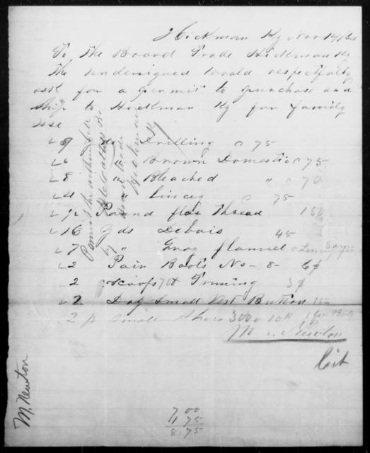 Newton, M - State: Kentucky - Year: 1864