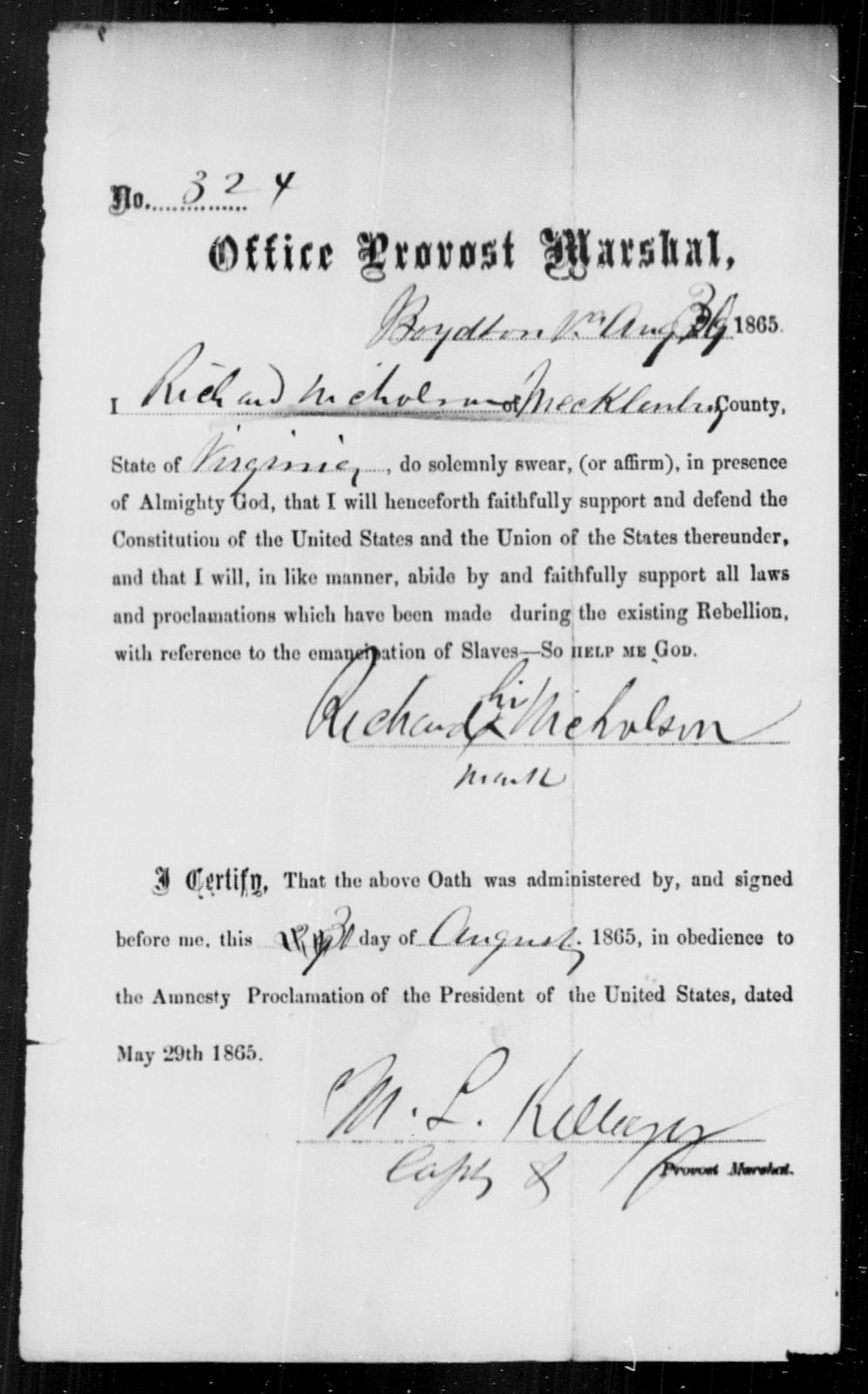 Nicholson, Richard - State: Virginia - Year: 1865