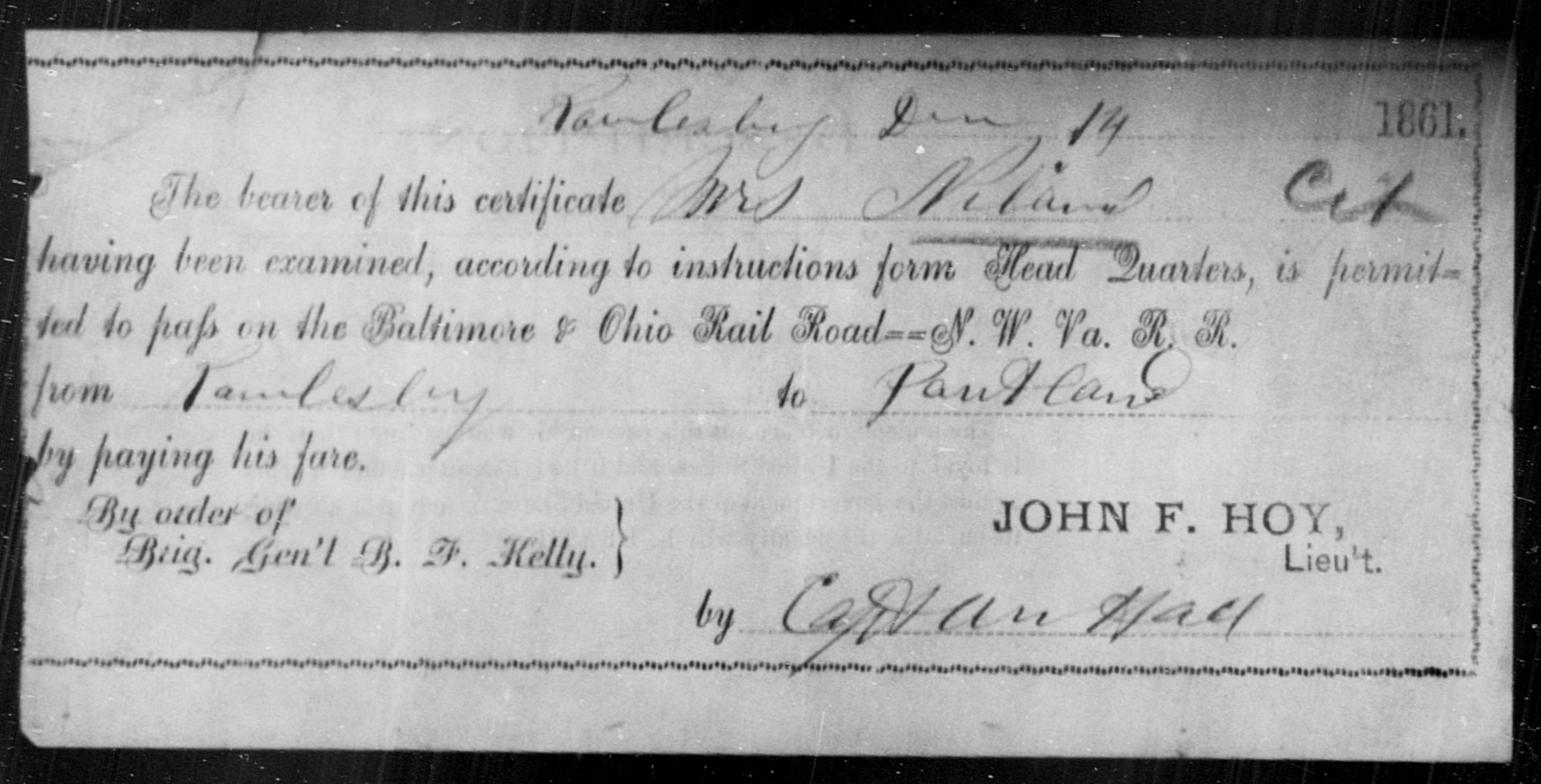 Niland, [Blank] - State: Ohio - Year: 1861