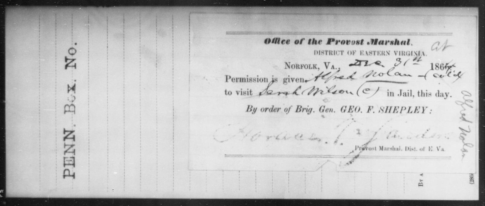Nolan, Alfred - State: Virginia - Year: 1864
