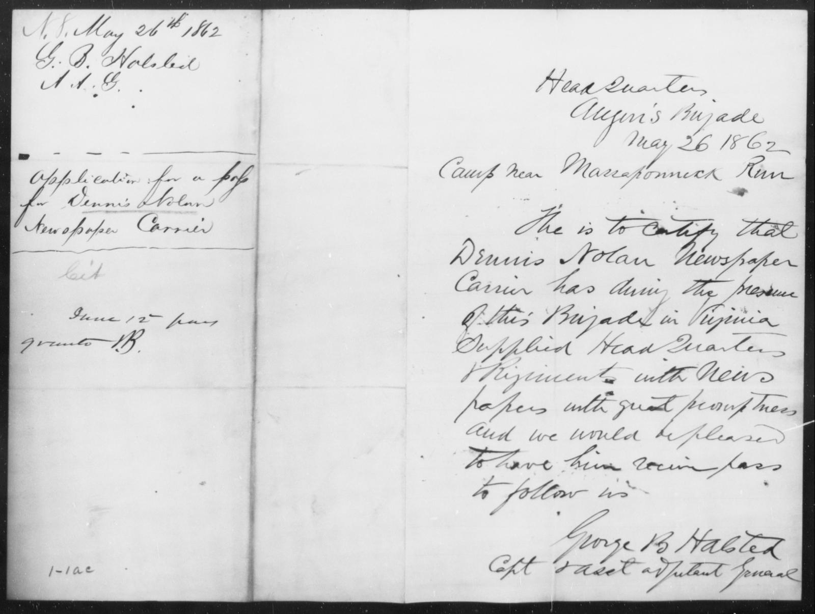 Nolan, Dennis - State: [Blank] - Year: 1862