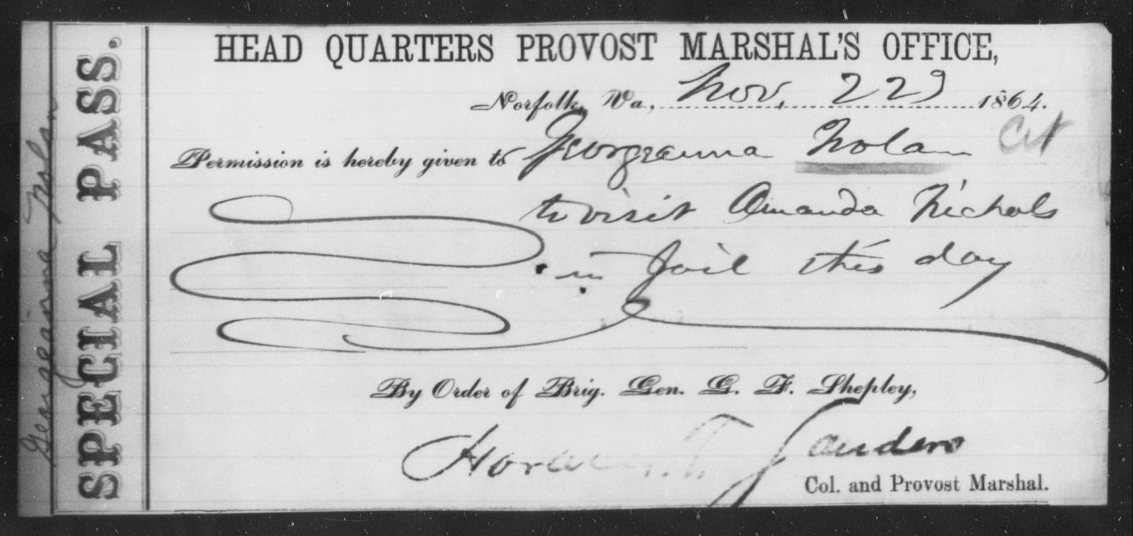 Nolan, Georgeanna - State: Virginia - Year: 1864
