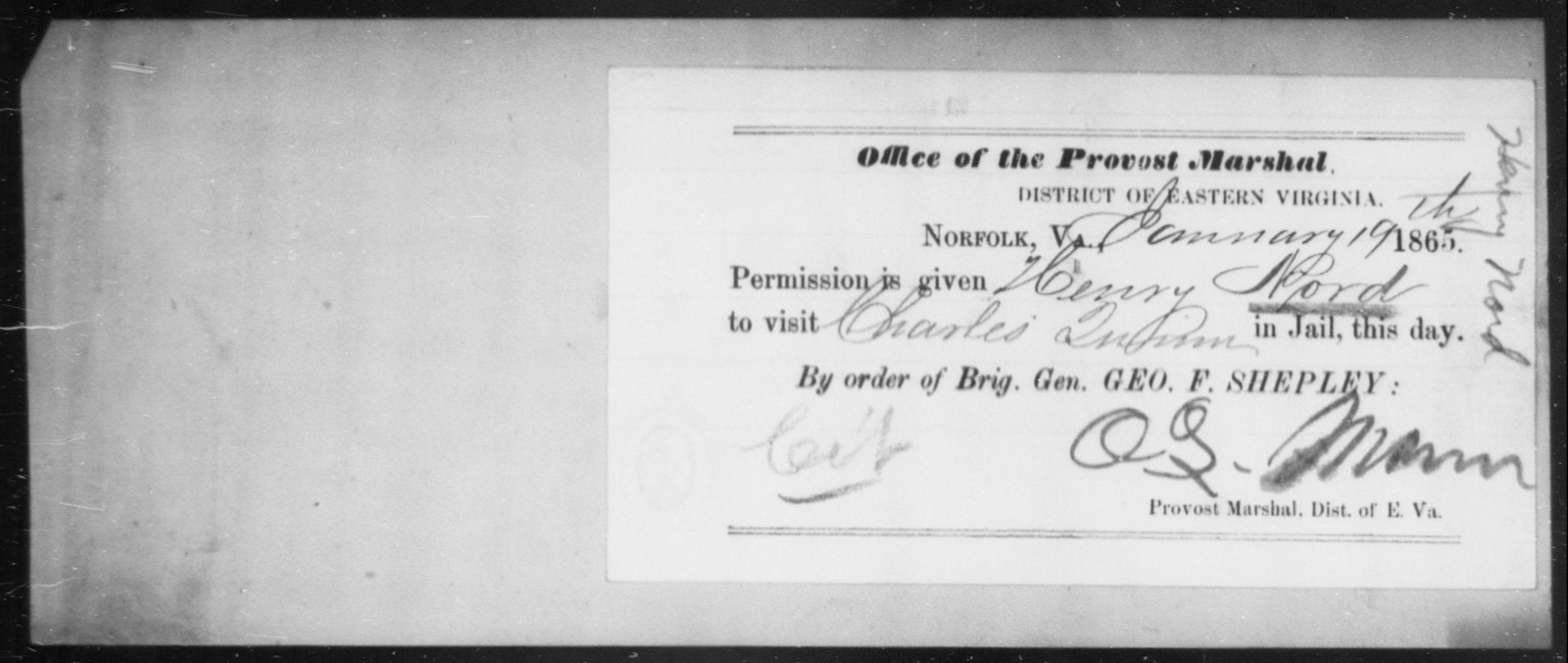 Nord, Henry - State: Virginia - Year: 1865