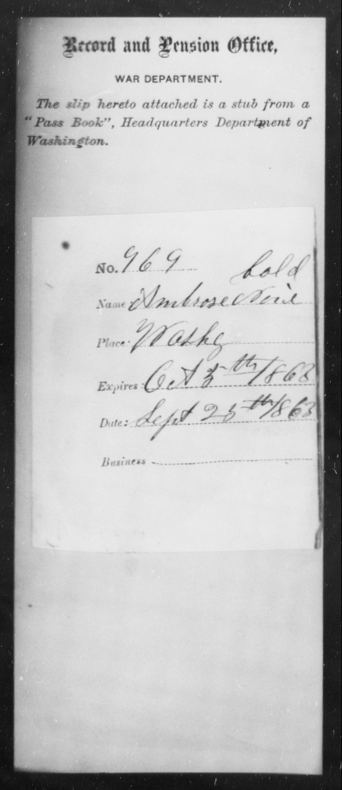 Norel, Ambrose - State: Washington - Year: 1863