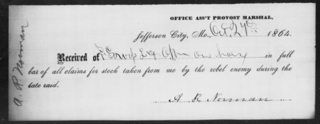 Norman, A R - State: Missouri - Year: 1864