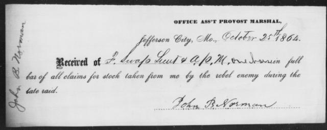 Norman, John B - State: Missouri - Year: 1864
