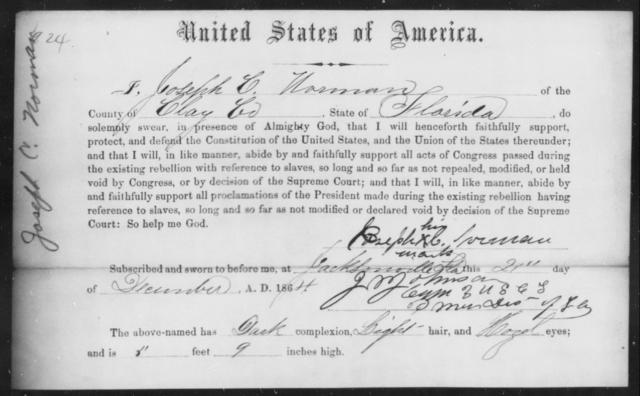 Norman, Joseph C - State: Florida - Year: 1864