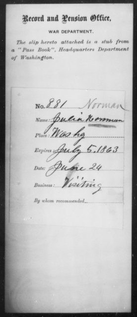 Norman, Julia - State: Washington - Year: 1863