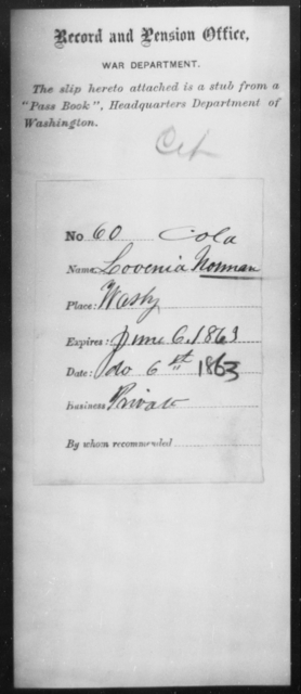 Norman, Lovenia - State: District of Columbia - Year: 1862