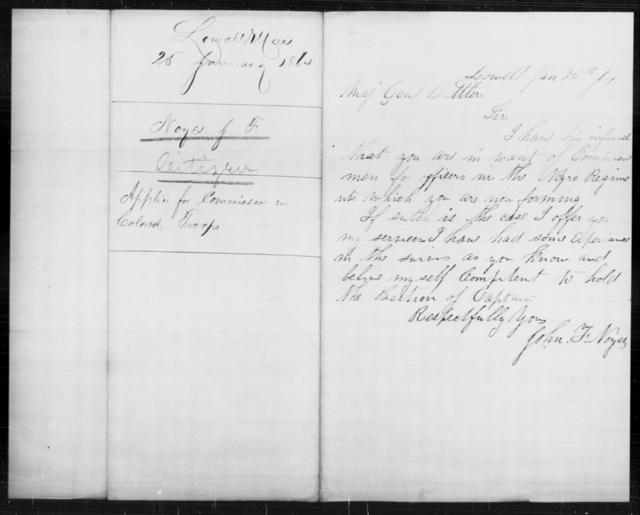 Noyes, John F - State: Massachusetts - Year: 1864