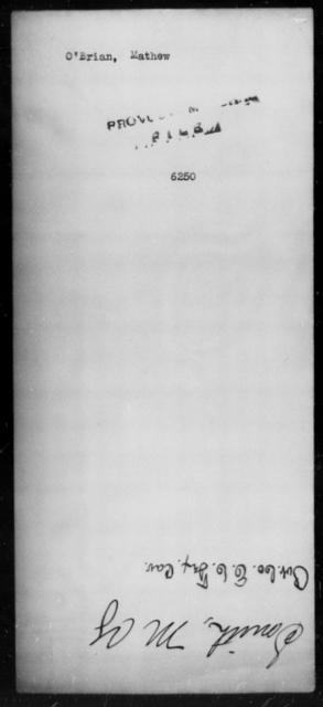 O'Brian, Mathew - State: [Blank] - Year: [Blank]