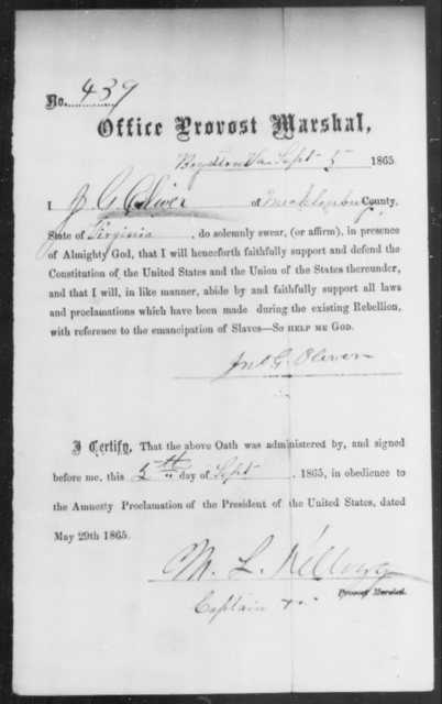 Oliver, Jno G - State: Virginia - Year: 1865