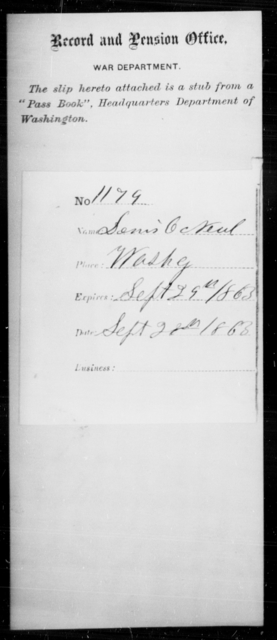 O'Neal, Denis - State: District of Columbia - Year: 1863