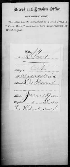 O'Neal, R - State: [Blank] - Year: 1865