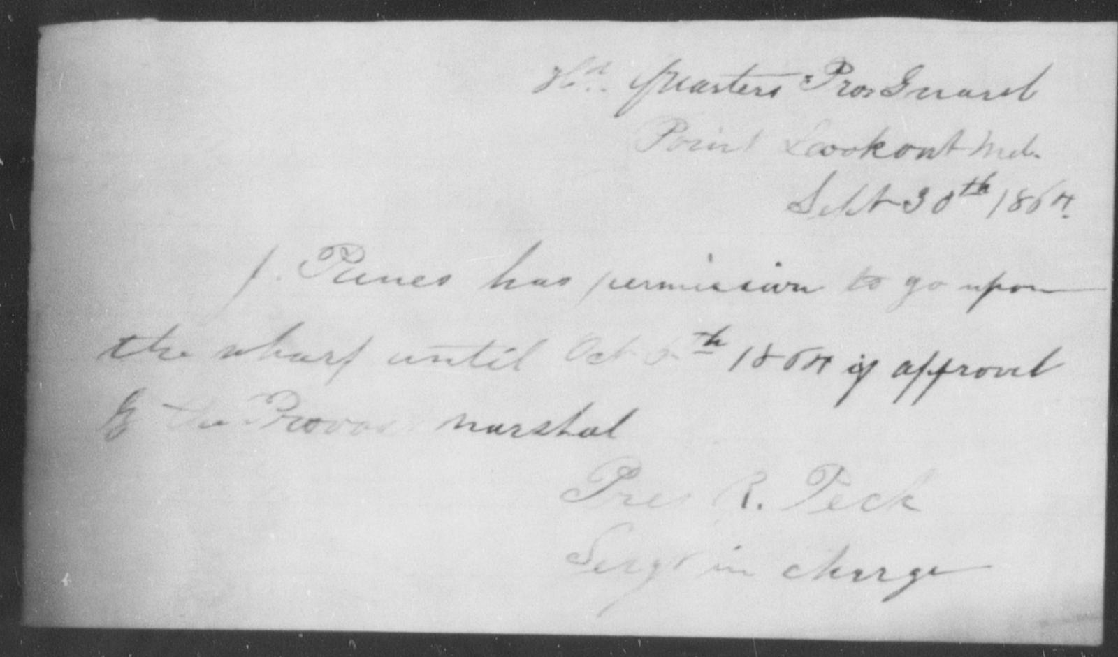 Panis, J - State: [Blank] - Year: 1864