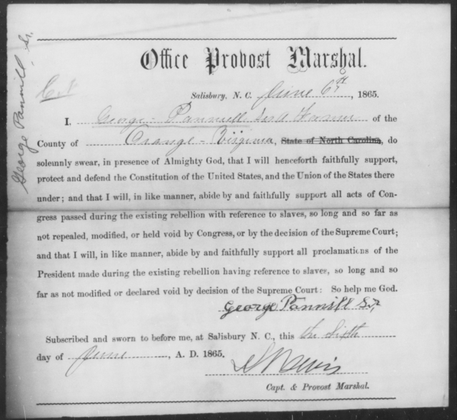Pannell, George - State: North Carolina - Year: 1865