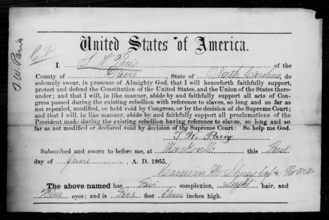 Paris, S W - State: North Carolina - Year: 1865