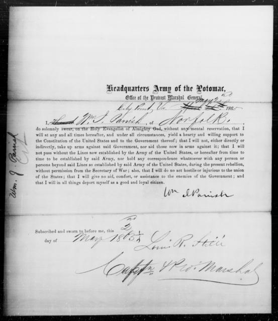 Parish, Wm J - State: Virginia - Year: 1865