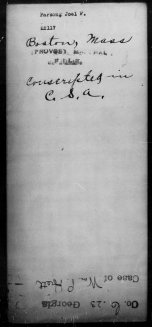Parson, Joel F - State: Massachusetts - Year: [Blank]