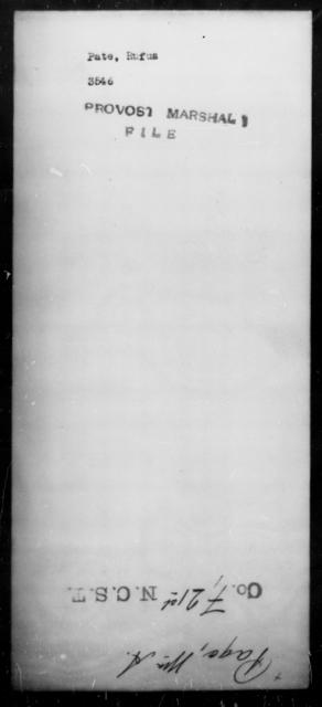 Pate, Rufus - State: [Blank] - Year: [Blank]