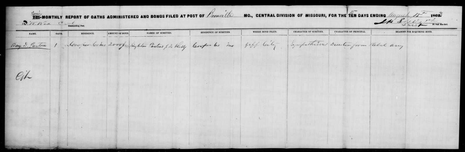 Paxton, Benj D - State: Missouri - Year: 1863